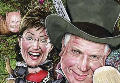 Mad Tea Party illustration by DREW FRIEDMAN - from The Nation